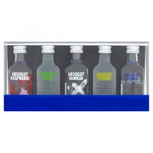 5 X Mini Absolut Vodka Originals Set