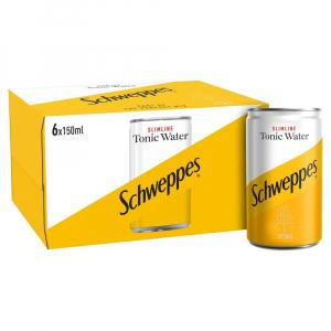 6 X Schweppes Slimline Indian Tonic 150ml Cans