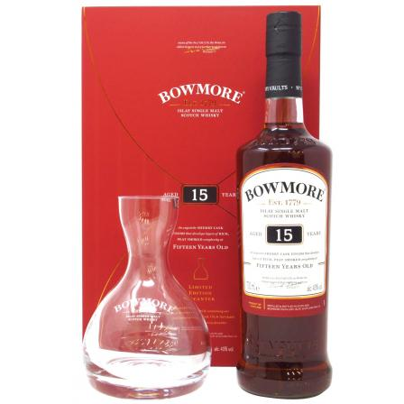 Bowmore Verre Decanter Gift Pack 15 Ans