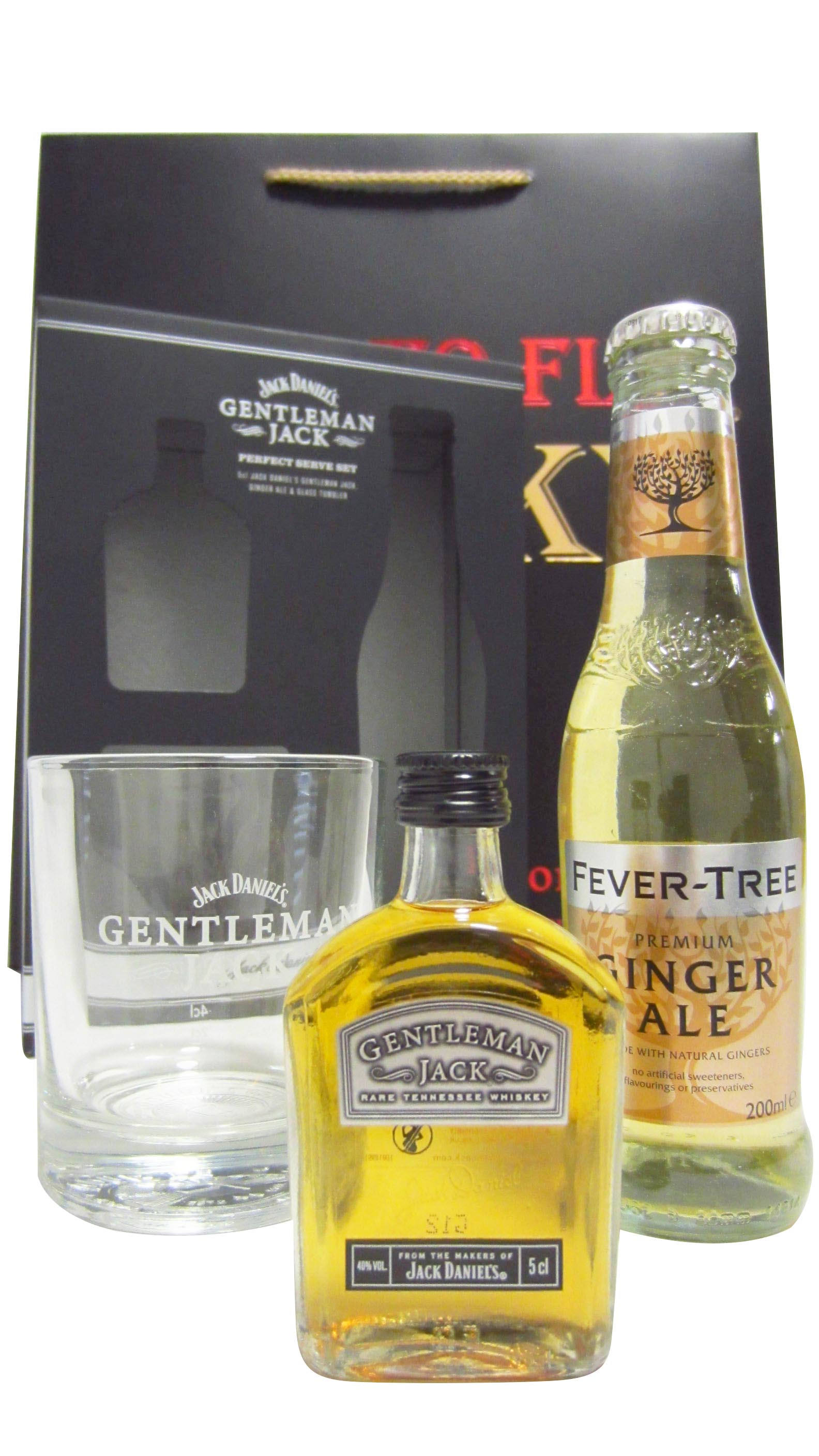 Jack Daniels Gentleman Jack Fever Tree Ginger Ale & Glass Gift Set Hard To Find Whisky Edition 50ml, whiskey