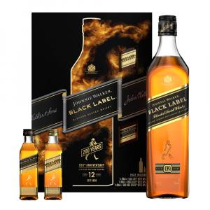 Johnnie Walker Black Label 12 Year old Whisky Gift Set With Miniatures