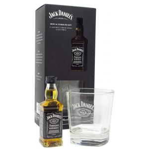 Mini Jack Daniel's & Branded Glass Tumbler Gift Set Hard To Find Edition