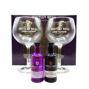 Mini Whitley Neill Glass Glass Set With Rhubarb and Ginger and Original Gin 50ml