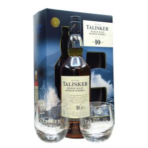 Talisker & 2 X Branded Glass Tumblers Gift Set 10 Year old