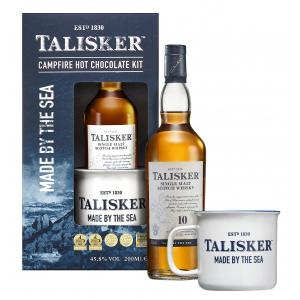 Talisker Campfire Hot Chocolate Gift Set Hot Chocolate Powder Branded Mug & Talisker 10 Year old 200ml